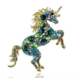 Bold Unicorn Brooch Golden Shimmer Silver Sparkle